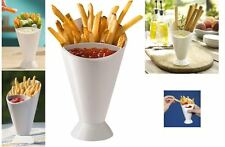 2 Dipper Cone Fries Dip Fry Sauce Snack Holder Food Party Bowl Serving Stand