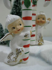 Vintage Napco Ceramic Christmas pixie elves Angel Candy Cane