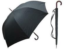 DELUX Medium Wt Wooden Crook Handle Doorman Stick Umbrella BLACK w Case 60""