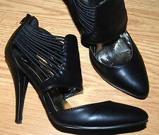 """N.Y.L.A. black faux leather high 4"""" heel pumps open boots booties 8 HOT Minero"""