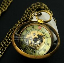 Vintage Bronze Ball Glass Skeleton HandWinding Mechanical Pocket Watch Steampunk
