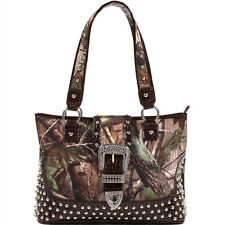 Realtree Women Camouflage Studded Tote Bag with Croco Trim Buckle Accent Coffee