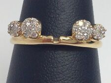 14K YELLOW GOLD 1/3CT GENUINE DIAMOND CLUSTER RING GUARD ENHANCER WRAP