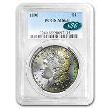 1896 Morgan Dollar MS-65 PCGS (CAC, Rainbow Toning)