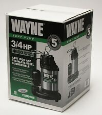 WAYNE CDU980E 3/4 HP Submersible Cast Iron and Stainless Steel Sump Pump, New