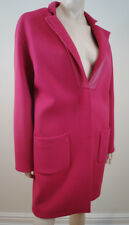 PINKO Bright Hot Pink Brushed Wool Blend Leather Trim Single Breasted Coat UK12