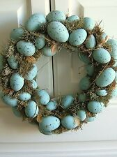 "Easter Spring 14"" Blue Egg & Feather Wreath"