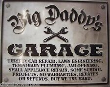 Vintage tin sign busted Man cave big daddy's garage knuckle shop tool work 98322