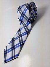EXPRESS 100% Silk Skinny Tie Men's NWOT Blue White Silver Plaid Necktie