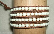 BRACELET - Beaded 4 Wrap Friendship Bracelet - BROWN with IVORY colour beads (S)