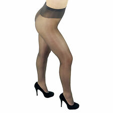 Leggs Sheer Energy 64450 Shiny Sheer to Waist Pantyhose - Queen Size - Off Black