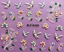 Nail Art 3D Decal Stickers Dragonflies & Flowers Dragonfly BLE1043D