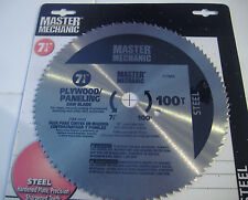 "7 1/4"" 100 TOOTH  STEEL PLYWOOD PANELING CIRCULAR SAW BLADE  MASTER MECHANIC"