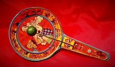 VINTAGE TIN LITHO MASQUERADE PARTY NOISE MAKER PADDLE - US METAL TOY MFG. CO.