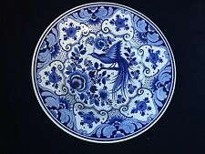 Large blue and white antique Chinese Porcelain Plate, Flowers , bird . Marked