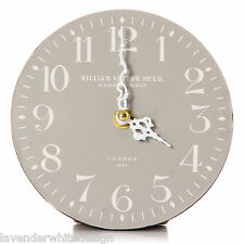 Vintage Style 14 cm Grey Table Clock White  Numerals William Sutton London