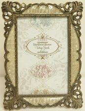 """Mother of Pearl Gold Brass Gem Stones Jewel Wedding 4"""" x 6"""" Photo Picture Frame"""