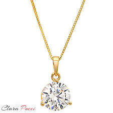 """2.0Ct Round Cut 14K Yellow Gold 3-prong Pendant Necklace Box With 16"""" Chain"""