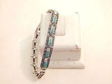 Vintage - Sterling Silver, Marcasite & Turquoise Bracelet - Deceased Estate