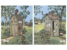 2 Vintage Outhouse Pictures Bathroom Privy Poster Print, New, Free Shipping