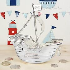PERSONALISED Christening Gift BOYS Silver Plated Pirate Ship Money Box - Baptism