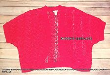 New Chico's Women's Size 3 Hot Pink Crochet Shrug Cardigan Open Short Sleeve