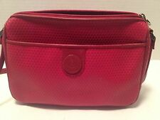 Liz Claiborne Red Purse With Red Leather Trim Small Zip Top