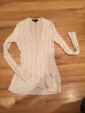 RALPH LAUREN BLACK LABEL Beige 100% Viscose Knit Long Cardigan Sweater Size L