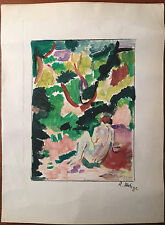 Matisse Oil Signed Painting Seated Nude Female Figure