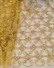"GOLD METALLIC EMBROIDERY MULTI SEQUINS BEIDAL LACE FABRIC 48"" WiIDE 1 YARD"
