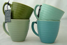ECP Designs Set of 4 Paisley Mugs Blue Green Cream Stoneware 350ml Gift Coffee
