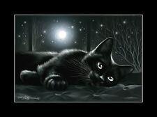 Cat Print Recline Under The Moonlight by I Garmashova