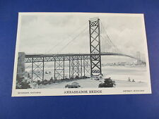 Ambassador Bridge Windsor Ontario To Detroit Michigan Colorful Postcard PC18