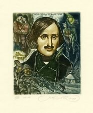 Writer N.Gogol, Ukrainian Cossack, Devil, Ex libris Etching by S. Kirnitskiy
