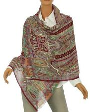 NEW ETRO MILANO LUXURY WOOL SILK PAISLEY PRINT SCARF WRAP SHAWL MADE IN ITALY