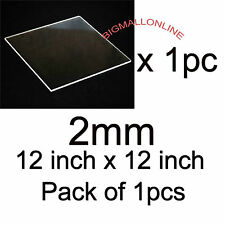 ACRYLIC PLASTIC SHEET Transparent Clear 2mm 1 piece 12 inch X 12 inch