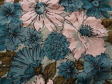 "Vintage Retro Aqua Flower Daisy Barkcloth Table Runner 15 x 27"" Gorgeous!!!!"