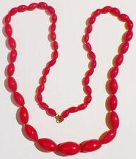collier vintage perle porcelaine olive rouge vif noeud soutient R