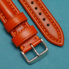 22mm Bro-Co Oily Leather Red Brown Reaplacement Watch Strap