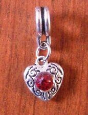 pendentif argenté coeur strass rouge