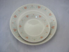 Corning Corelle FOREVER YOURS Set of 4 Dinner & 4 Bread Plates Pink Hearts USA