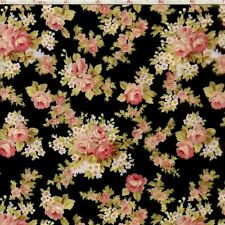 "World of Romance: Little Bouquet, Black RJR 100% cotton 44"" fabric by the yard"