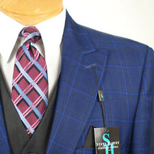 42R STEVE HARVEY Dark Blue Check Coordinated 3 Piece Suit - 42 Regular - SB12