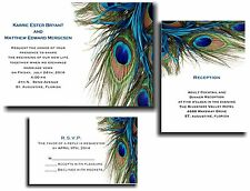 25 Peacock Wedding invitations RSVP and Reception cards