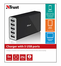 TRUST 25W MAINS CHARGER WITH 5 USB PORTS FOR CHARGING UP TO 2 TABLETS + 3 PHONES