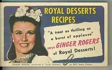 1940 Ginger Rogers / Royal Desserts Recipe Booklet Movie Luck Partners