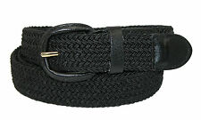 Mens Elasticated Fabric Woven Braided Stretch Webbed Belt 30mm Leather Buckle