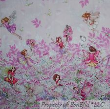 BonEful Fabric FQ Cotton Quilt Pink White Flower Girl Tooth Fairy Angel L Border