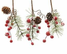 6 x Christmas Red Berry Hangers 'Snow' dusting / Pine Cones Garlands Floristry