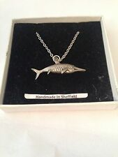 Ichthyosaurus PJ/IP Emblem on Silver Platinum Plated Necklace 18""